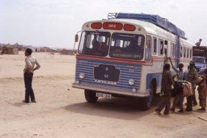 Picture of a mawingo bus in Kenya waiting for passengers.